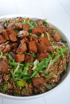 Kacha aux légumes du wok, sauce teriyaki et seitan