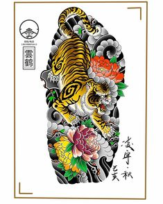 Tattoo Japanese Style, Japanese Tiger Tattoo, Japanese Tattoo Symbols, Traditional Japanese Tattoos, Japanese Tattoo Designs, Japanese Sleeve Tattoos, Tiger Tattoo Sleeve, Tattoo Sleeve Designs, Tiger Tattoodesign