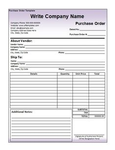 Printable Purchase Order Template Excel  Invoice Templates