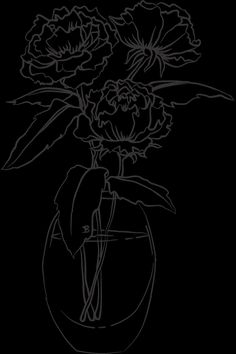 Drawn Flowers In A Vase Rose Vase, Flower Vases, Flowers, Drawings, Roses, Flower Pots, Pink, Sketch, Rose