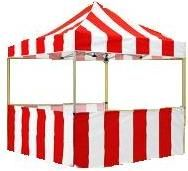 Carnival Game Booth & Food Tents for rent in San Diego. Perfect game booth or tent for carnival games, carnival foods such as popcorn, cotton candy, and snow cones. Red and White stripe game booth rental in San Diego.