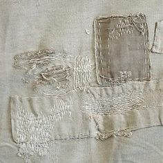 sashiko (japanese embroidery), embroidery stitches and mending stitches are so filled with lush texture and layers of pattern, that they are my must-share this week. Boro Stitching, Visible Mending, Make Do And Mend, Linens And Lace, Kintsugi, Fabric Manipulation, Wabi Sabi, Fabric Art, Textile Art