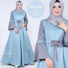 Baju Pakaian Wanita Gamis Hijabers Marbella Dress Sky Blue mempunyai keterangan produk Baju Fashionbahan balotelli Baju Hijabers beraplikasi Sekoder Tangan