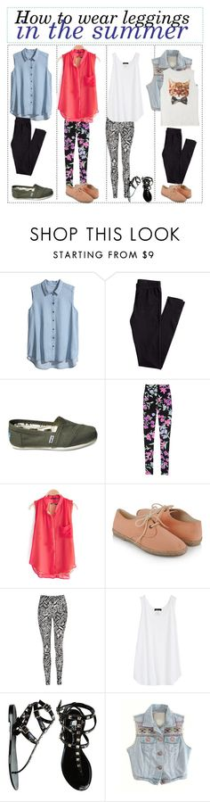 """How to wear leggings in the summer"" by the-tip-of-the-week ❤ liked on Polyvore featuring H&M, TOMS, Fuchsia by Leonard, Forever 21, Jane Norman and Report"