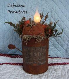 Primitive Harvest Lamp Gathering *Vintage Rusty Sifter~Pumpkins~Sweet Annie*