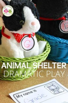 Are you looking for new dramatic play ideas for your classroom or at home? Learn how to set up an animal shelter dramatic play area. Ideas for props, dress up clothes, literacy opportunities, and a free printable collar tag are included. This is a perfect addition to your pet theme, animal theme, or community helper theme unit and lesson plans. Teach kids about the importance of animal adoption and the role of animal shelters in our community