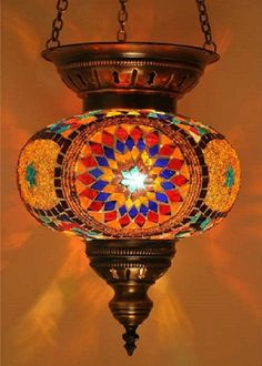 Handmade Hanging Mosaic Lamp, Ottoman design Turkish Chandelier A-001
