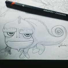 Semana #1: ONE-LINE - Doodle #3 Pascal, el camaleón mascota de Rapunzel de Tangled. Sinceramente, el doodle que menos me agradó entre los tres de la semana, pero supongo que sirvió bastante bien como práctica de personajes no humanoides!