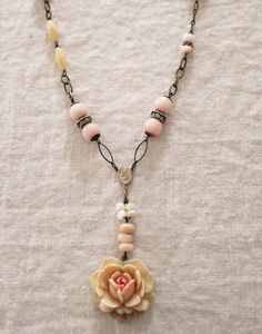 Watercolor Rose Necklace