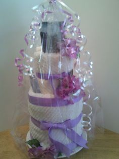 Wedding gift, Bride gift, bridesmaids gift, Mother's Day Gift, Birthday Gift - by toocutegifts.com - Spa Cake made of bath towels and Bath & Body Works products.