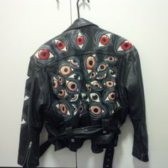 Hand-painted leather jacket from FactoryRejects at Etsy