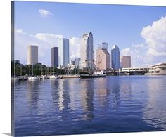 Solid-Faced Canvas Print Wall Art Print entitled Florida, Tampa, Office building in Tampa Wall Art Prints, Framed Prints, Canvas Prints, Florida Sunshine, Geneva Switzerland, Dark Navy Blue, Canvas Frame, Canvas Canvas, San Francisco Skyline