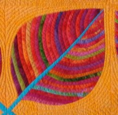 Close Up detail The Leaf Quilt by Laurie Evans- great colors