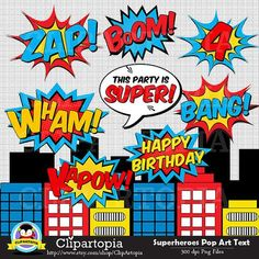 Superhelden popart tekst en bubbels Clipart / Super held tekst en bubbels digitale illustraties / superheld photobooth props ** INSTANT DOWNLOAD *** Zodra de betaling is bevestigd, zal de downloadlinks worden verzonden naar het e-mailbericht gekoppeld aan uw account Etsy na de