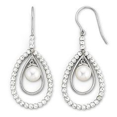 jcp | Cultured Freshwater Pearl & Sparkle Bead Earrings