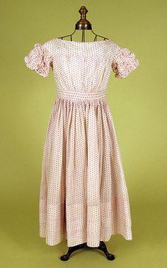Girl's Red & White Voile Dress, 1830-1850