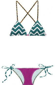 I absolutely love this Charlie by Matthew Zink Adriana mix-print triangle bikini