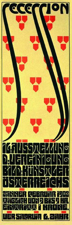 12-27 - Alfred Roller, poster for the sixteenth Vienna Secession exhibition, 1902. Letters were reduced to curved corner rectangles with slashing curved lines to define each character.
