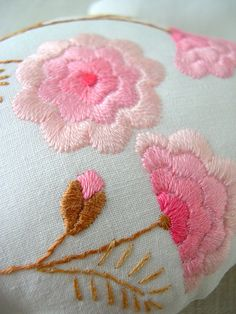 Pink flower embroidery