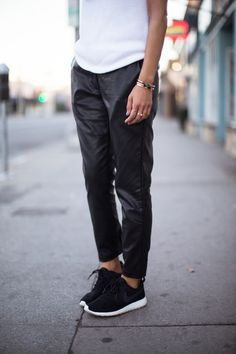 Leather slouchy pants.