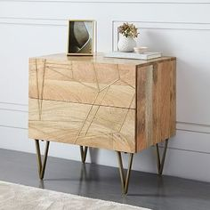 Roar + Rabbit™ Brass Geo Inlay Nightstand - Raw Mango #westelm