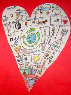 map of my heart  childrens project inspired by Sara Fanellis