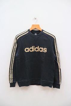 finest selection d8d3a 364b4 Vintage ADIDAS Big Spell Sportswear Black Sweater Sweatshirts