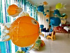 Beach Party Decor...fish made from Paper Lanterns