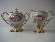 Antigo Rs Prussia Hp Flores e guarnição de ouro Creme de pé & açúcar coberta