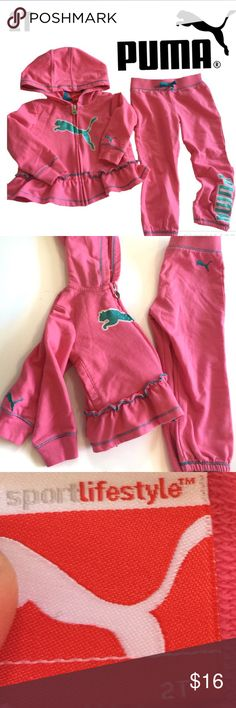 Pink Puma outfit w/jacket and pants jogging suit 2t, has blue glitter like logo going down the leg of the pants, hooded, EUC! Puma Matching Sets