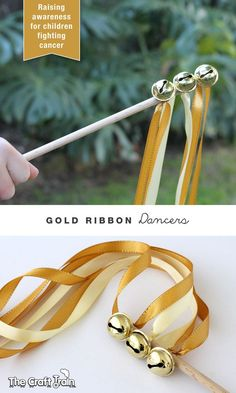 Make Gold Ribbon Dancers to raise awareness for childhood cancer Diy For Kids, Cool Kids, Crafts For Kids, Instrument Craft, Musical Instruments, Ribbon Wands, Ribbon Sticks, Ribbon Diy, Music Crafts