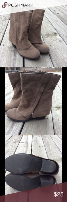 """Fergalicious """"Carly"""" Taupe Side Zip Boots. Size 6. Size 6. Functioning zipper inside. Decorative zipper outside. About 2.5"""" chunky heel. Rough suede material. Very comfortable and easy to walk in! Comes to a little below middle of calf for me. Fergalicious Shoes Ankle Boots & Booties"""