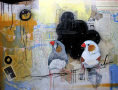 Finches by Denver-based artist, Jax Quackenbush. Lullabeats loves the local Denver art scene. Collage Art, Collages, Zebra Finch, Finches, Silver Wings, Birds 2, Bird Feathers, In A Heartbeat, Denver