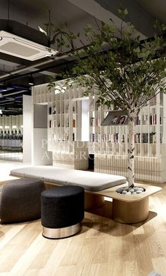 office designs and furniture Lobby Interior, Cafe Interior, Interior Architecture, Scandinavian Office, Scandinavian Interior Design, Contemporary Interior, Office Lounge, Open Office, Modern Office Design
