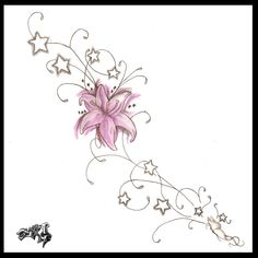 lily and butterfly tattoo designs   side tattoo design by ~A-T-G-4 on deviantART