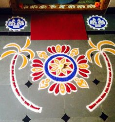 Colorful Rangoli Designs, Kolam Designs, New Year Rangoli, Alpona Design, Pooja Mandir, Free Hand Rangoli Design, Kolam Rangoli, Simple Rangoli, Love Drawings