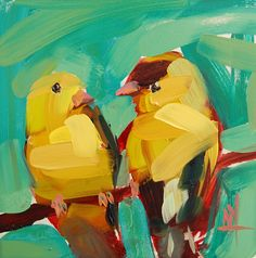Two Goldfinch no. 3 original bird oil painting by Angela Moulton 6 x 6 inch on panel pre-order by prattcreekart on Etsy