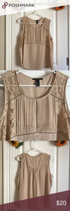 •Lace Detail Top• Nude color with beautiful detailing. Brand new and unworn. No flaws. Forever 21 Tops Tank Tops