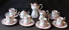 Limoges China - Girl's Scattered Flowers Pink Roses Mini Tea Chocolate Set - 17 Pieces - Chocolate  Pot, Sugar, Creamer,, 6 cups & saucers. Child's Chocolate Pot / Tea Set / Teapot