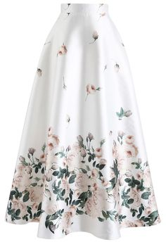 Fallen Rosa Printed Maxi Skirt in White - Retro, Indie and Unique Fashion
