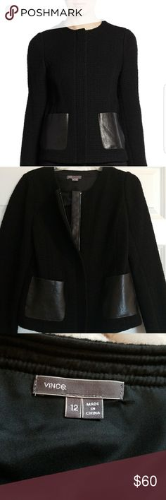 Vince wool Jacket! Sz. 12 DESIGNER FOR LESS!!! Vince wool jacket with leather pocket detailing. Very rarely worn, lighter weight and perfect for the last days of fall into spring. 100%AUTHENTIC! BUNDLE AND SAVE!!! I respond to all reasonable offers with acceptance or a counter offer! You never know until you ask, so offer away! Bag available as well! Best prices on Poshmark! Everything comes from my personal closet! Vince Jackets & Coats