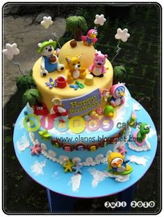 Pororo by olanos cakes Cartoon Cookie, First Birthday Cakes, Beach Themes, First Birthdays, Cake Decorating, Ice Cream, Cupcakes, Candy, Sweet