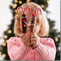 15 Gifts Kids Can Make. Candy cane reindeer—candy cane, yarn, googly eyes, pom poms, jingle bell, ribbon