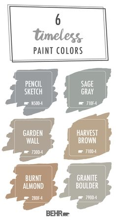 Featuring muted neutrals with a hint of color, these hues form a timeless paint color palette that's sure to please. Use these elegant colors throughout your entire home. Click below to explore these Room Colors, Wall Colors, House Colors, Interior Paint Colors, Paint Colors For Home, Breakfast Nook Furniture, Paint Color Palettes, Sage Color Palette, Paint Shades