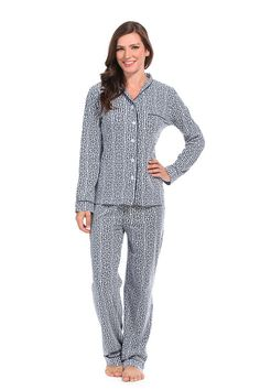 3035beab3b3d Greek Key Navy Jersey Knit Pajama Set available in XS