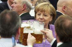 Angela Merkel drinks beer too!