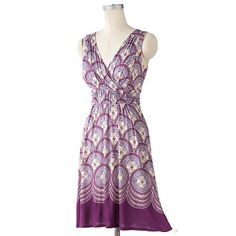 ELLE Mosaic Ruched Surplice Dress - sale $40.50; also in blue/teal