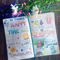 10 Things That Make Me Happy I'm a pretty simple person — I will have to try this. It's a great idea. Bullet Journal Notebook, Bullet Journal Inspiration, Bullet Journals, Wreck This Journal, Journal Pages, Journal Ideas, Arte Sketchbook, Bullet Journal Aesthetic, Creative Journal