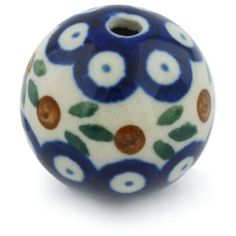 Polish Pottery 1-inch Bead | Boleslawiec Stoneware | Polmedia H0238G | Polmedia How To Make Necklaces, Polish Pottery, Arts And Crafts Projects, Poland, Stoneware, Hand Painted, Beads, Creative, Handmade