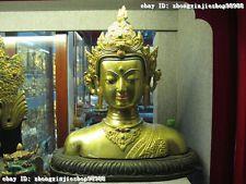 Tibet Buddhism 100% Bronze 24K Gold Kwan-Yin Bodhisattva Buddha head bust Statue